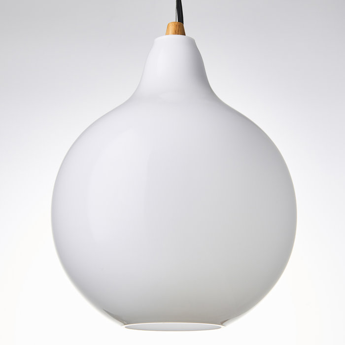 Homme - Scandi Minimalist Ceiling Light - Opal Glass & Wood