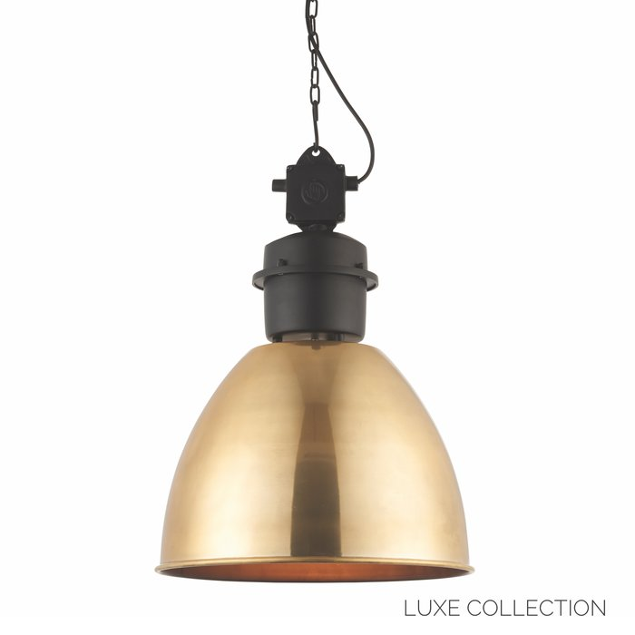 Industrial Factory Pendant - Antique Brass & Matt Black - Large