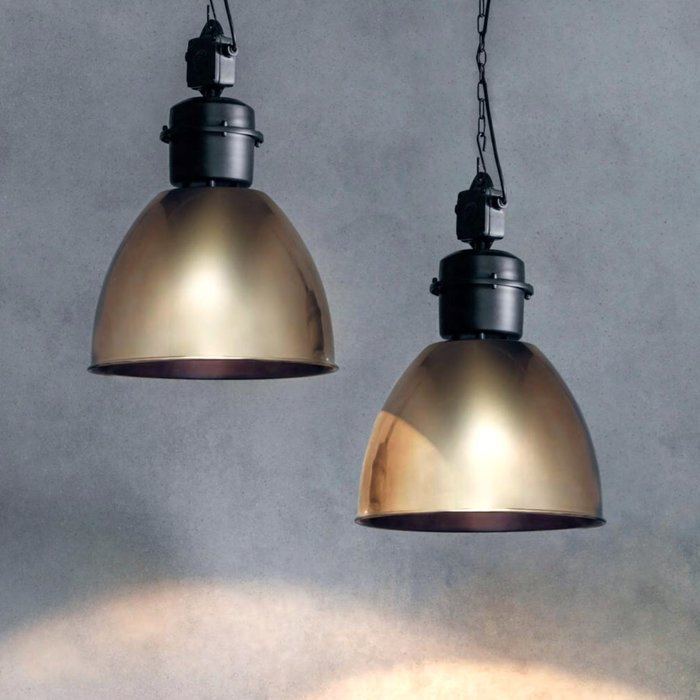 Industrial Factory Pendant - Antique Brass & Matt Black - Large