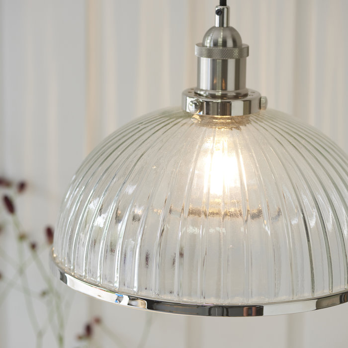 Vintage 'Resto' Style Ribbed Glass Pendant