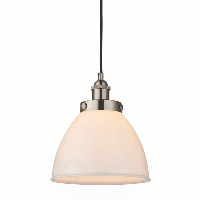 Resto Style Gloss White Glass Industrial Pendant