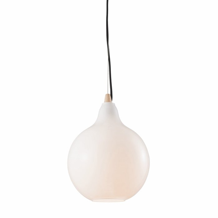 Homme - Scandi Minimalist Ceiling Light - Opal Glass & Wood