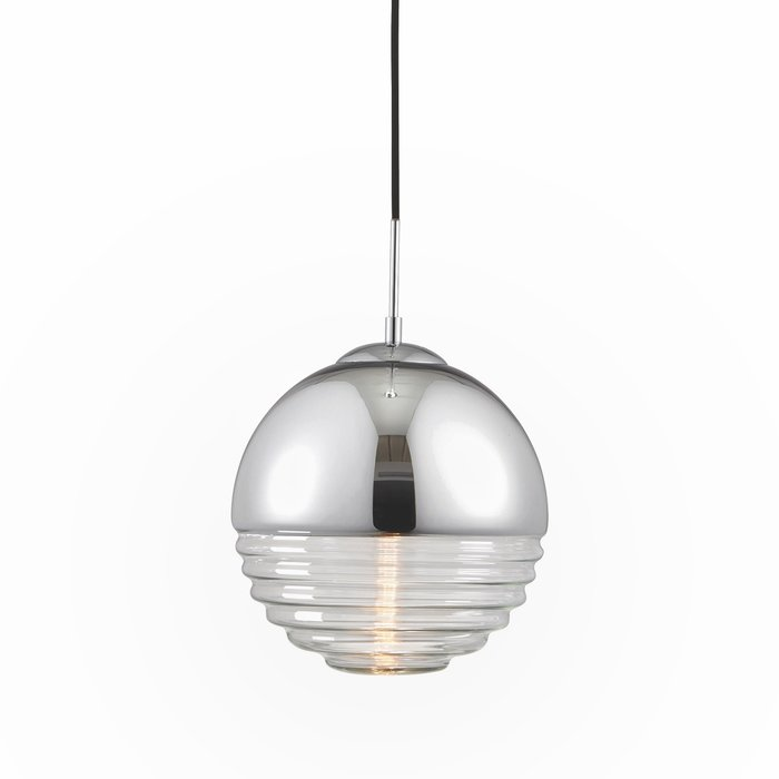 Ribbed & Chromed Sphere - Modern Ceiling Pendant