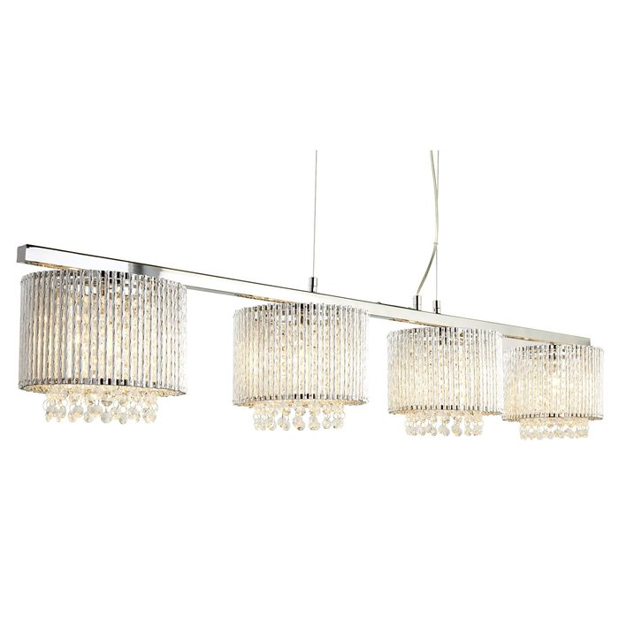 Crystal 4 Light Bar Ceiling Pendant - Polished Chrome