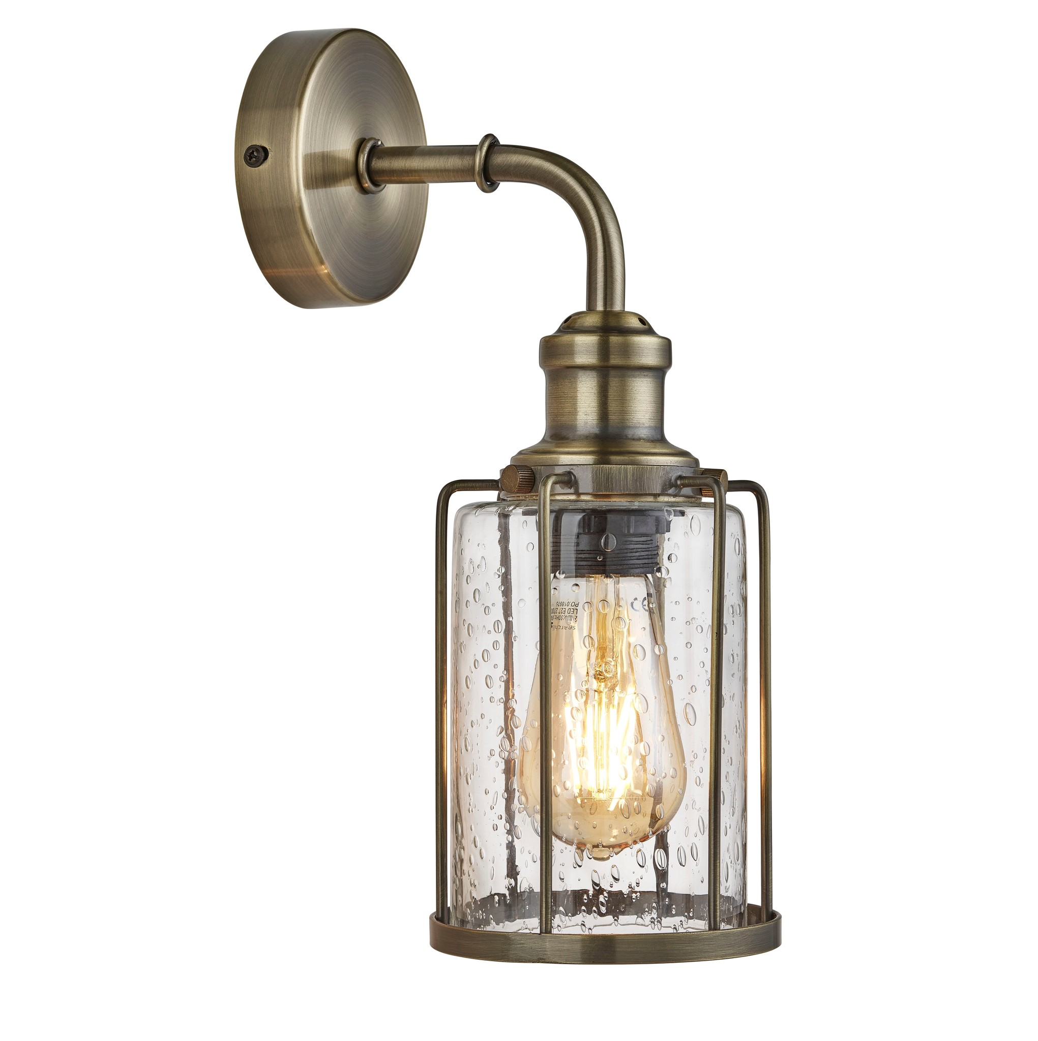 Industrial Pipe Wall Light Antique Brass Seeded Glass Lightbox