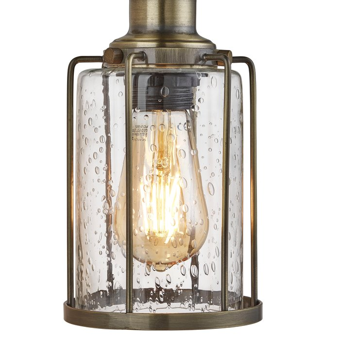 Industrial Pipe - 3 Light Feature Ceiling Light - Antique Brass & Seeded Glass