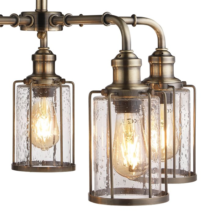 Industrial Pipe - 5 Light Feature Ceiling Light - Antique Brass & Seeded Glass