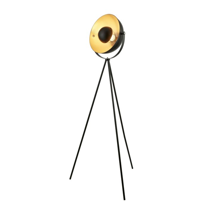 Loft - Modern Tripod Floor Lamp - Black & Gold
