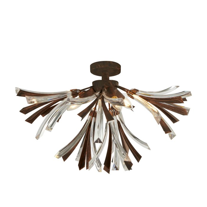 Oxidised Bronze & Glass Semi Flush Ceiling Light