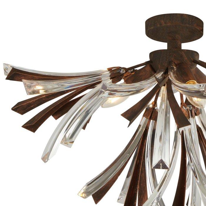 Oxidised Bronze & Glass Semi Flush Ceiling Light