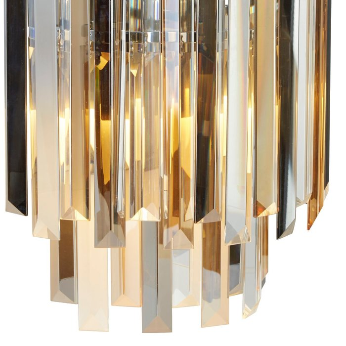 Modern Crystal Wall Light - Smoked, Clear & Amber Prisms