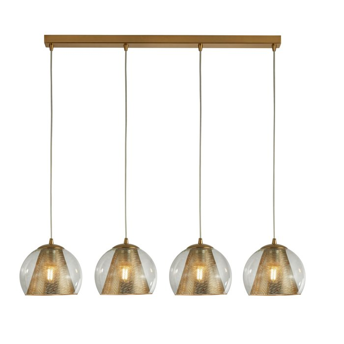 Kono - Glass & Brass 4 Light Pendant