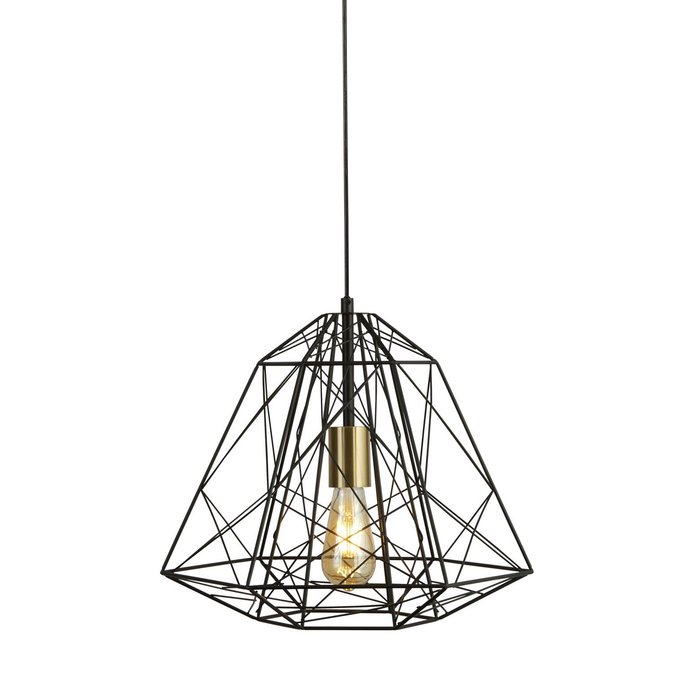 Geometric Wire Cage Pendant - Matt Black & Satin Brass