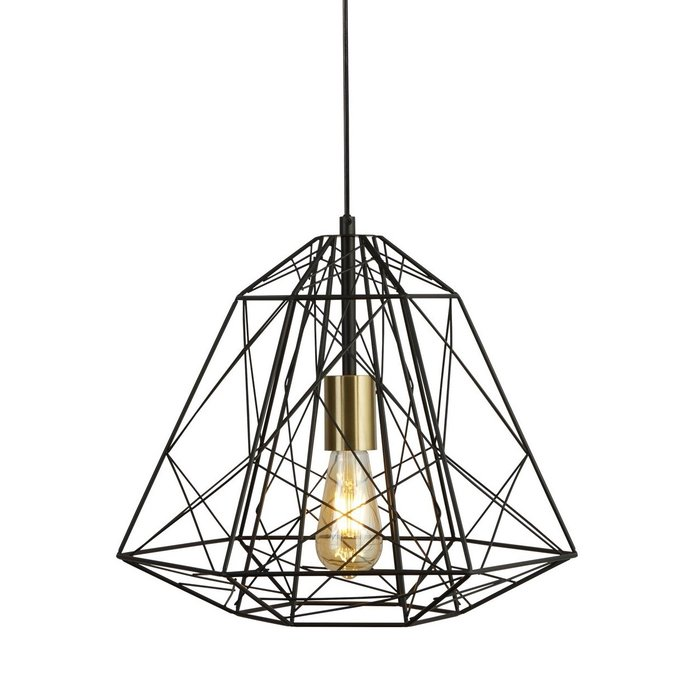 Geometric Wire Cage Pendant - Matt Black & Satin Brass