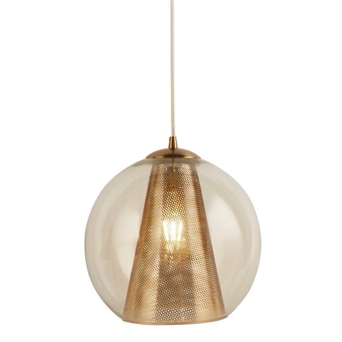 Kono - Glass & Satin Brass Mesh Pendant