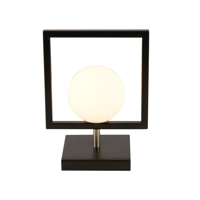 Roswell - Modern Matt Black & Opal Table Light