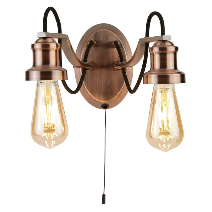Olive - Copper & Black Cable Vintage Wall Light