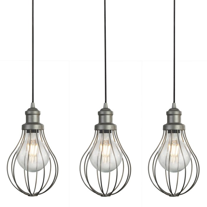 Indust - Cage 4 Light Pendant - Pewter