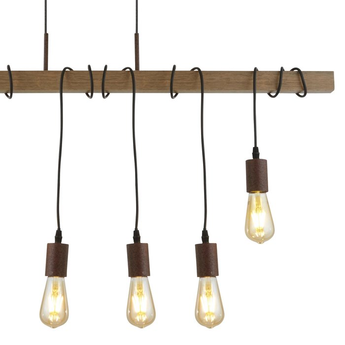 Beam - Rustic Cable & Wood Pendant - Large
