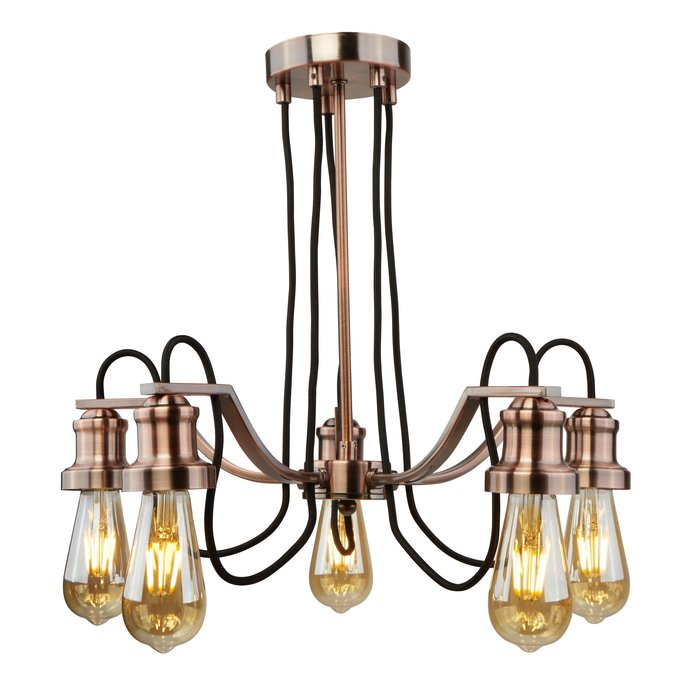 Olive - Copper & Black Cable Vintage Semi Flush Fitting