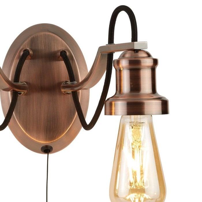 Olive - Copper & Black Cable Vintage Wall Light