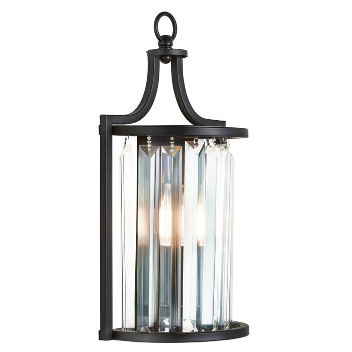 Elizabeth - Art Deco Crystal Wall Light - Matt Black