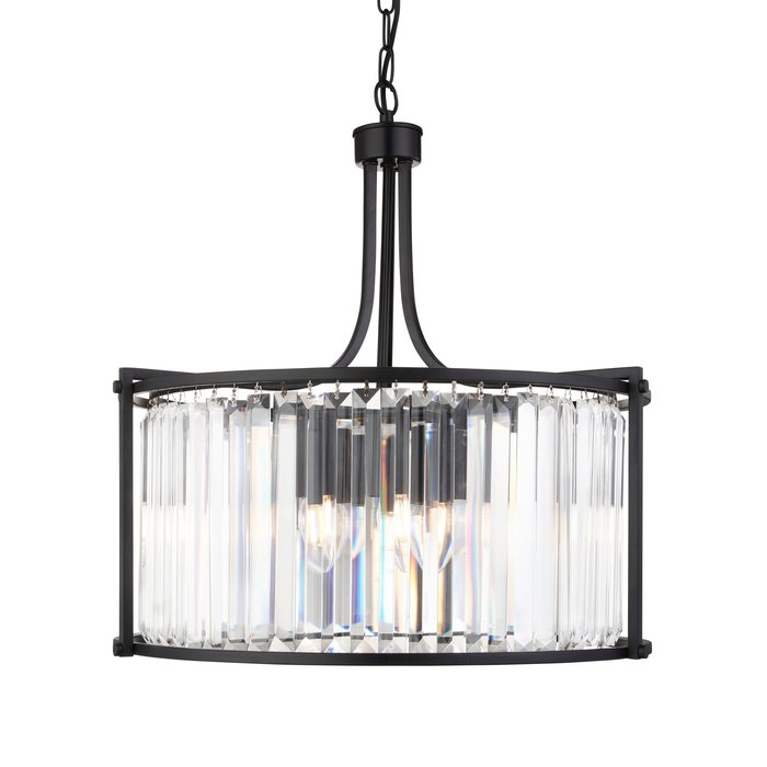 Elizabeth - Art Deco Crystal Drum Pendant - Matt Black