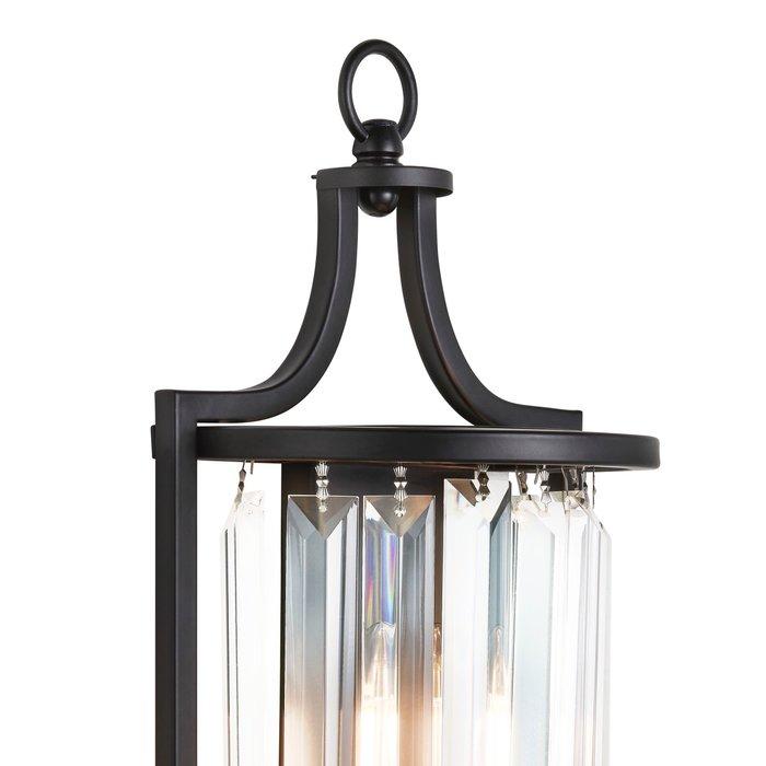 Elizabeth - Art Deco Crystal Wall Light - Matt Black