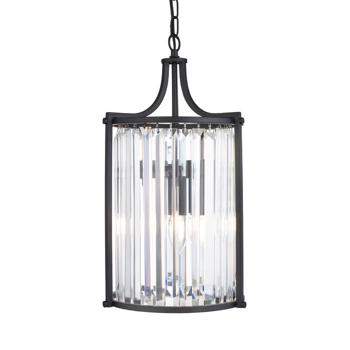 Elizabeth - Art Deco Crystal Pendant - Matt Black