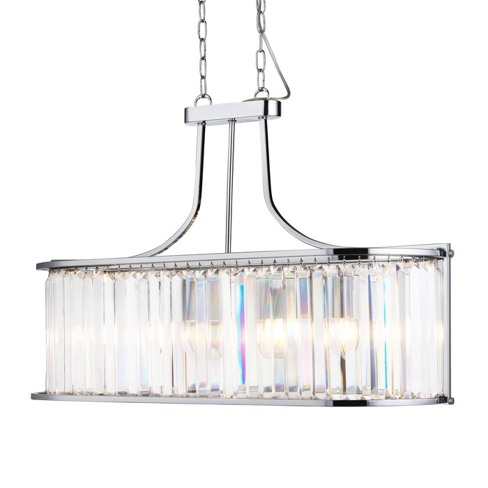 Elizabeth - Art Deco Oval Bar Pendant - Chrome