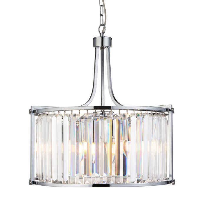Elizabeth - Art Deco Crystal Drum Pendant - Chrome