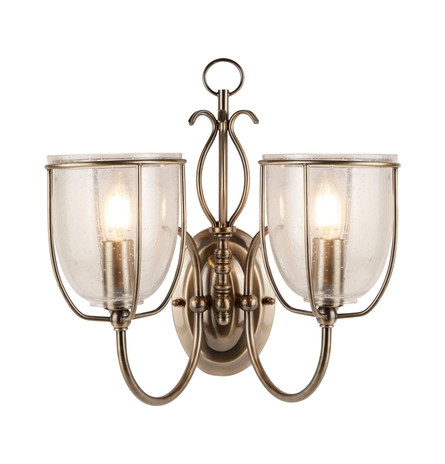 outlet store c6902 ece10 Classico - Ornate Seeded Glass Double Wall Light - Antique Brass
