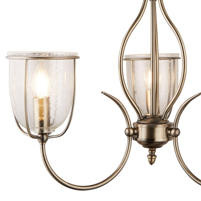 Classico - Ornate Seeded Glass 3 Light Pendant - Antique Brass