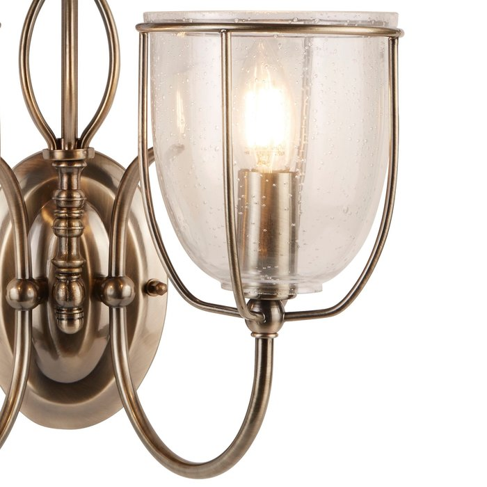 Classico - Ornate Seeded Glass Double Wall Light - Antique Brass