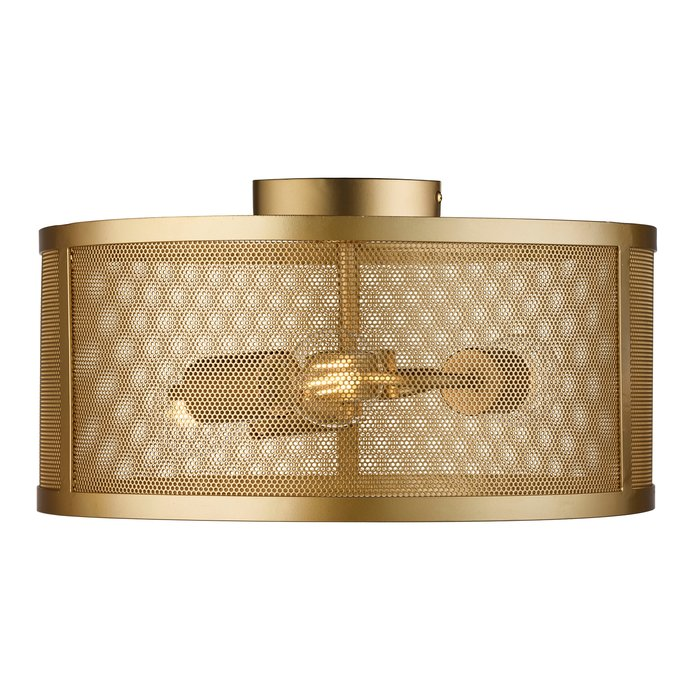 Fishnet Drum Flush Light - Gold