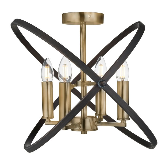 Hoop - Bronze & Black Semi Flush Ceiling Fitting