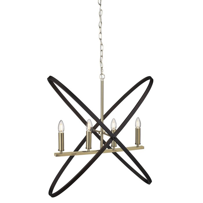 Hoop - Bronze & Black 4 Light Bar Pendant