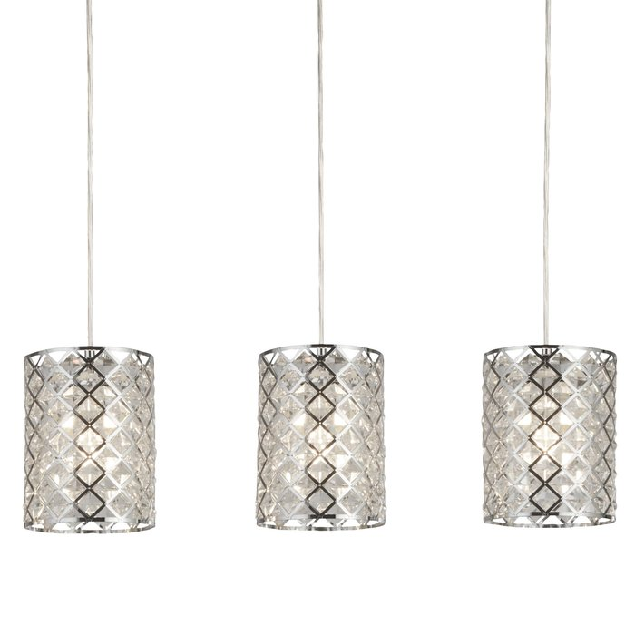 Houston - Glass & Polished Chrome 3 Light Bar Pendant