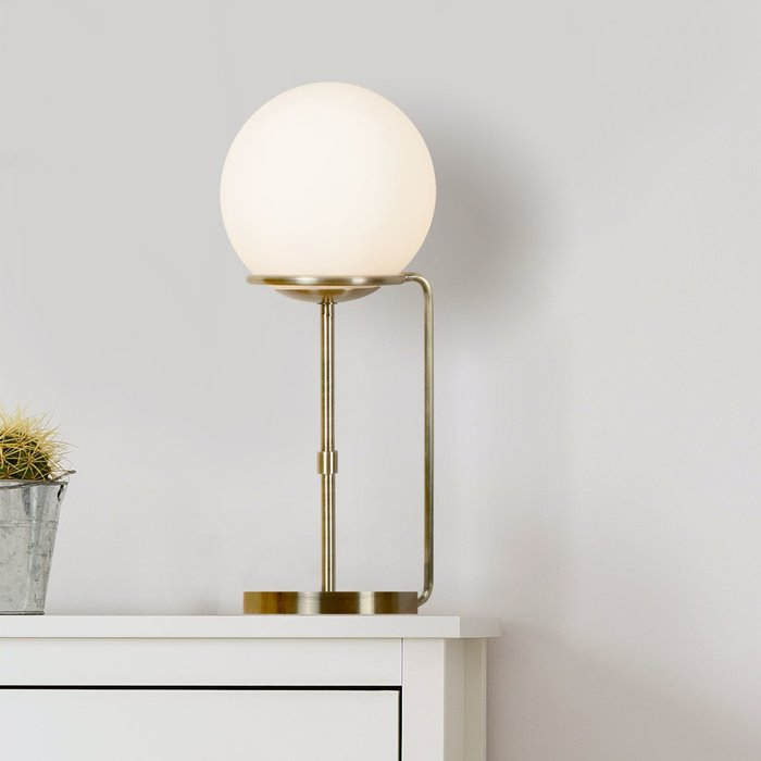 Kloden - Opal Globe Table Lamp  - Antique Brass