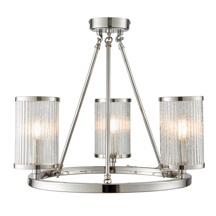 East - Ribbed Glass Hurricane 3 Light Semi - Flush Fitting