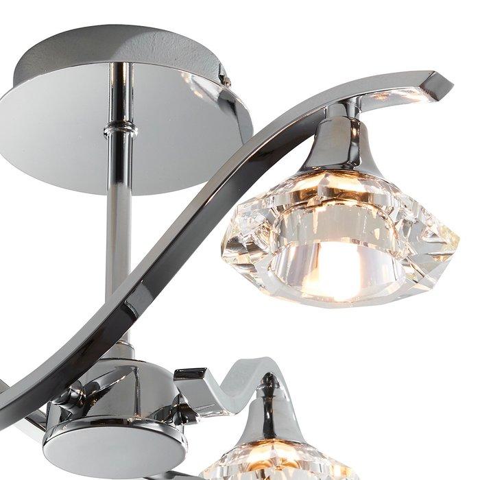 Langley - Faceted Crystal & Chrome Multi - Arm Semi - Flush Ceiling Light