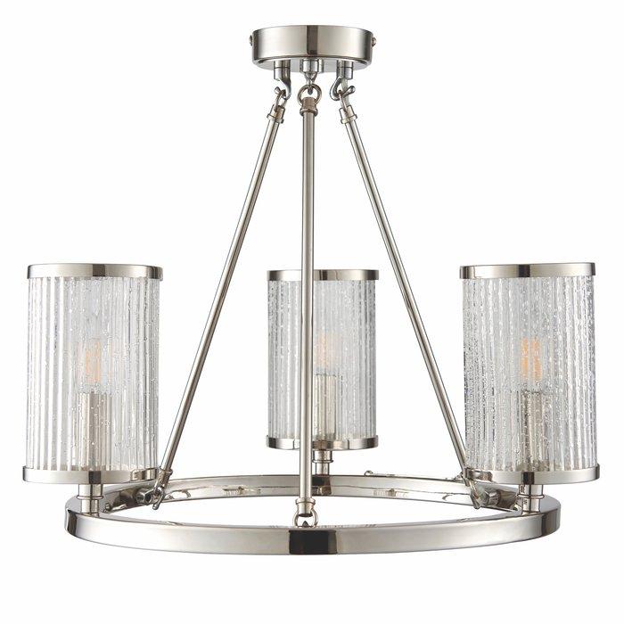 East - Ribbed Glass Hurricane 3 Light Semi - Flush Fitting