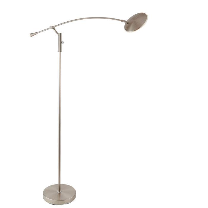 Modern Reading Floor Lamp - LED - Satin Nickel