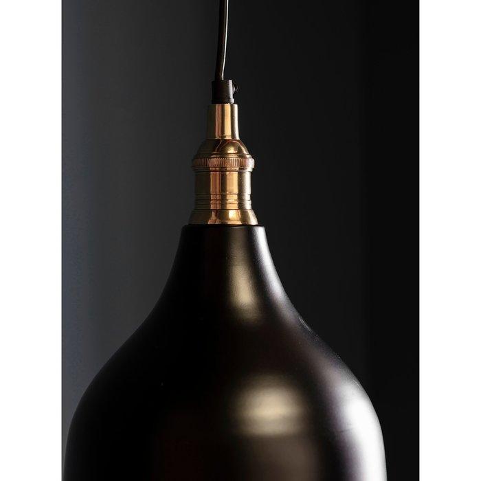 Classic Industrial Pendant - Matt Black & Antique Brass Lacquer