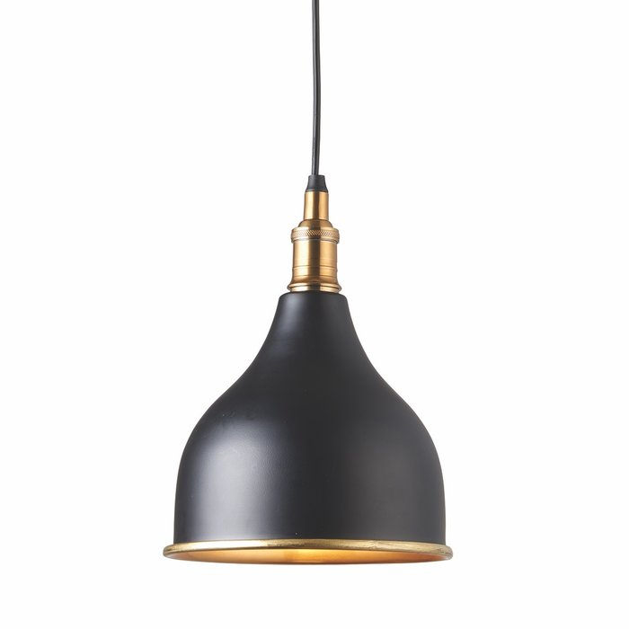 Classic Industrial Pendant - Matt Black & Antique Brass Lacquer