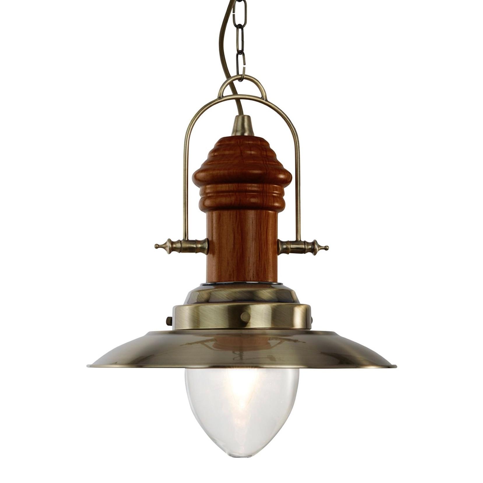 Dark Wood Brass Fishermans Lantern Lightbox