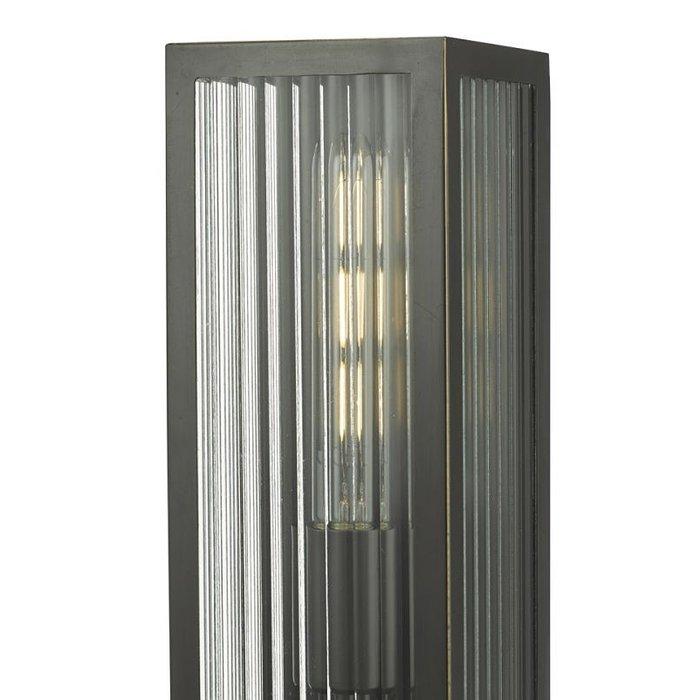 Atlas - IP44 Small Ribbed Glass Wall Light - Black