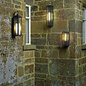 Atlas - IP44 Large Ribbed Glass Wall Light - Black