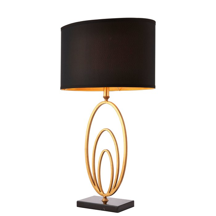 Black Marble & Antique Gold Feature Table Lamp
