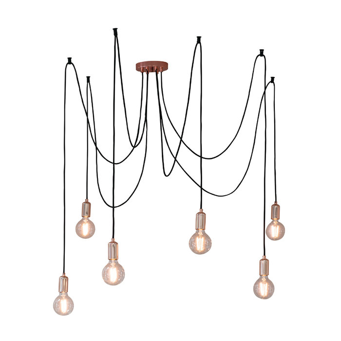 Urban - 6 Light Spider Suspension Kit - Polished Copper
